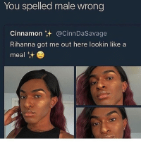 Rihanna, Dank Memes, and Got: You spelled male wrong  Cinnamon @CinnDaSavage  Rihanna got me out here lookin likea  meal t She thick