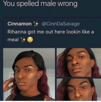 Cute, Funny, and Rihanna: You spelled male wrong  Cinnamon.+ @CinnDaSavage  Rihanna got me out here lookin like a  meal t She cute