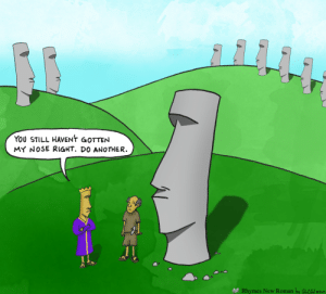 Easter, Roman, and Another: YOU STILL HAVENT GOTTEN  MY NOSE RIGHT. DO ANOTHER.  Rhymes New Roman by GrCC 2 Easter Island [OC]