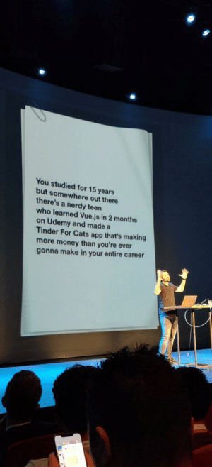Cats, Life, and Money: You studied for 15 years  but somewhere out there  there's a nerdy teen  who learned Vue.js in 2 months  on Udemy and made a  Tinder For Cats app that's making  more money than you're ever  gonna make in your entire career #doctors_life #fact #reactlive2019