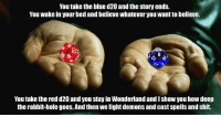 One of my oldest memes. It's so old it's from before we started using WMs. Ah, good memories.   -Law: You take the blue d20 and the story ends.  You wake in your bed and believe whatever you want to believe.  6.  8  You take the red d20 and you stay in Wonderland and I show you how deep  the rabbit-hole goes. And then we fight demons and cast spells and shit. One of my oldest memes. It's so old it's from before we started using WMs. Ah, good memories.   -Law