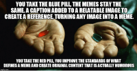 Same thing different image.: YOU TAKE THE BLUE PILL THE MEMES STAY THE  SAME.A CAPTIONADDED TO A RELATABLEIMAGE TO  CREATE AREFERENCE TURNINGANYIMAGEINTOA MEME.  YOU TAKE THE RED PILL YOUIMPROVETHESTANDARDS OFWHAT  DEFINES A MEMEAND CREATE ORIGINAL CONTENT THATISACTUALLY HUMOROUS  img flip com Same thing different image.