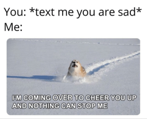 I'm on my way right now!: You: *text me you are sad*  Me:  IM COMING OVER TO CHEER YOU UP  AND NOTHING CAN STOP ME I'm on my way right now!