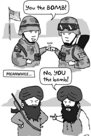 Twin Towers, You, and Bomb: You the BOMB!  SUMP  No, yoU  the bomb!  MEANWHILE... Twin Towers: No Im the bomb!