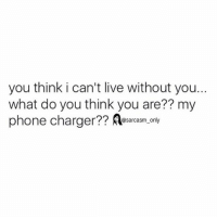 Funny, Memes, and Phone: you think i can't live without you..  what do you think you are?? my  phone charger Asarcasm only ⠀