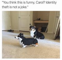 """Funny, Memes, and 🤖: """"You think this is funny, Carol? Identity  theft is not a joke."""""""
