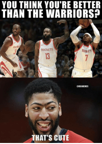 Cute, Anthony Davis, and Warriors: YOU THINK YOU'RE BETTER  THAN THE WARRIORS  Hock  ROCKETS  ROIKETS  13  @NBAMEMES  THAT'S CUTE Anthony Davis to #RocketsNation 😂 https://t.co/bxaOjTEGrg