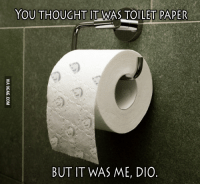 But It Was Me: YOU THOUGHT  IT WAS TOILET PAPER  BUT IT WAS ME, DIO