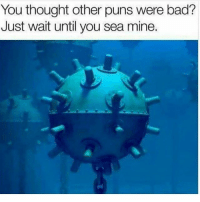 Bad, Memes, and Puns: You thought other puns were bad?  Just wait until you sea mine. Just you wait... (@memezar)