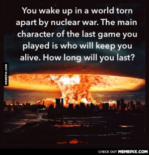 How long will you last?omg-humor.tumblr.com: You wake up in a world torn  apart by nuclear war. The main  character of the last game you  played is who will keep you  alive. How long will you last?  CНECK OUT MЕМЕРIХ.COМ  MEMEPIX.COM How long will you last?omg-humor.tumblr.com