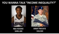"Nba, Army, and Private: YOU WANNA TALK ""INCOME INEQUALITY?""  ARMY PRIVATE  NBA ROOKIE  $18,564  $490,180"