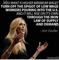 Pick one or the other, or neither, but not both… why artificially increasing MinimumWage plays havoc with LawOfSupplyAndDemand Economics: YOU WANTA HIGHER MINIMUM WAGE?  TURN OFF THE SPIGOT OF LOWWAGE  WORKERS POURING INTO THE U.S.  AND IT WILL RISE ON IT'S OWN  THROUGH THE IRON  LAW OF SUPPLY  AND DEMAND  Ann Coulter  NumbersUSA Pick one or the other, or neither, but not both… why artificially increasing MinimumWage plays havoc with LawOfSupplyAndDemand Economics