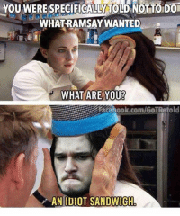 Idiot Memes: YOU WERE SPECIFICALLY TOLD NOTTODO  WHAT RAMSAYWANTED  WHAT ARE YOU?  AN IDIOT SANDWICH
