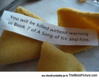 """Fire, Tumblr, and Thank You: You will be killed withou  in Book 7 of A Song o  e kil  without warning  g of Ice and Fire.  you should probably go to TheMetaPicture.com <p><a href=""""https://epicjohndoe.tumblr.com/post/170325297362/thank-you-fortune-cookie"""" class=""""tumblr_blog"""">epicjohndoe</a>:</p>  <blockquote><p>Thank You, Fortune Cookie</p></blockquote>"""