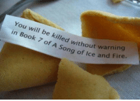 Fire, Thank You, and Book: You will be killed without war  in Book 7 of of  A Song of Ice and Fire <p>Thank You, Fortune Cookie.</p>