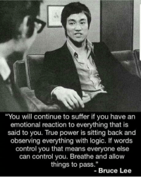 "Wise words to live by.: ""You will continue to suffer if you have an  emotional reaction to everything that is  said to you. True power is sitting back and  observing everything with logic. If words  control you that means everyone else  can control you. Breathe and allow  things to pass.""  -Bruce Lee Wise words to live by."