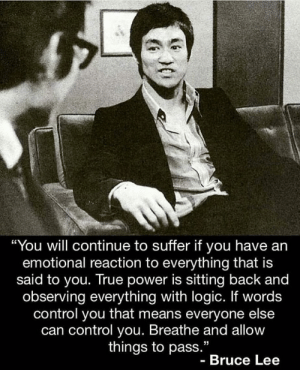 "Brains, Energy, and Food: ""You will continue to suffer if you have an  emotional reaction to everything that is  said to you. True power is sitting back and  observing everything with logic. If words  control you that means everyone else  can control you. Breathe and allow  things to pass.""  - Bruce Lee Every thought we have activates a cluster of neurons, they send an action potential down the axons to cross synapse that releases neurotransmitters. If we keep reactivating this network, it becomes stronger because surrounding glial cell feed the cluster and it becomes thicker and stronger. We are literally talking ourselves out of success. If something goes wrong in your life and you make the mistake of making it personal telling yourself a shit story about ""how it is"", you're dirtying up your mind with dangerous shit. All of our fears are self-created. They form in the brain's default mode network and are greatly amplified when the brain's alarm and avoidance network is on. This drives our decisions because emotion supersedes thought. We fear rejection, embarrassment, loss, and abandonment, powerful emotions that override positive thought. For most people they are focused on what could go wrong and feel embarrassed; this is EXACTLY what creates these emotions that are holding us back. There's a 90-second rule which states that, if one can redirect their focus off the bullshit story, the network will stop firing neurotransmitters down the action potential; that kills the emotion. Negative Emotion is just like too much alcohol, we need to sober up! Most people cannot do this; 15 months ago I couldn't either when it counted the most because there is an underlying cause of stress, cellular stress, which puts the brain in the SAME CHAOS, alarm and avoidance. I call this red stress, and it's in the food supply in the form of AGE's, ALE's, aldehydes, estrogen mimics, microplastics, mitotoxins etc. Your body is at war, and it needs cofactors to fight each battle, and most people lack there too. This war must be financed, it diverts energy to fight battle after battle. You will experience this as being tired, lose focus, become moody and stressed. Wouldn't this energy be better-spent financing focus, passion, and success? Take out red stress💫 I'm building a free course on doing just that, it's opening us soon. TAG SOMEONE YOU BELIEVE IN WHO NEEDS THIS . lawofattraction nevergiveup brucelee emotionalintelligence onelife nutrigenomics"