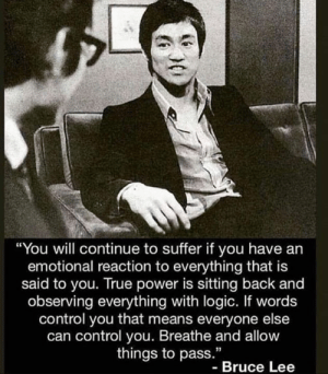 "Logic, True, and Control: ""You will continue to suffer if you have an  emotional reaction to everything that is  said to you. True power is sitting back and  observing everything with logic. If words  control you that means everyone else  can control you. Breathe and allow  things to pass.""  - Bruce Lee Thoughts?!"