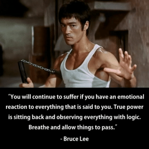 "Master Bruce Lee has spoken.: ""You will continue to suffer if you have an emotional  reaction to everything that is said to you. True power  is sitting back and observing everything with logic.  Breathe and allow things to pass.""  - Bruce Lee Master Bruce Lee has spoken."