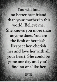 Best Friend, Life, and Love: You will find  no better best friend  than vour mother in this  world. Believe me.  Sh  e knows you more than  anyone does. You are  the flesh of her flesh.  Respect her, cherish  her and love her with all  your heart. She could be  gone one day and youd  find no one like her.  Lessons Taught  By LIFE <3