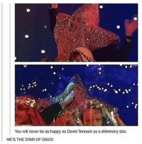Memes, Happy, and Star: You will never be as happy as David Tennant as a shimmery star.  HE'S THE STAR OF DAVID MY FRIEND EMMA (@brokencrowns) IS GRADUATING AND LIKE IM SO PROUD OF MY SMOL BEAN ⭐️ She's all grown up now 💕💕 |>•<| • - Credits tagged • - • doctorwho davidtennant mattsmith christophereccleston petercapaldi billiepiper karengillan arthurdarvill catherinetate freemaagyman jennacoleman nine ten eleven twelve rosetyler riversong amypond rorywilliams claraoswald marthajones donnanoble tardis timelord bowtie fez dalek cyberman weepingangels