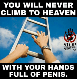 Climbing, God, and Heaven: YOU WILL NEVER  CLIMB TO HEAVEN  STOP  MASTURBATION  NOW.org  WITH YOUR HANDS  FULL OF PENIS. smores-prime:  thefingerfuckingfemalefury:  millyblank:  Sounds like a challenge.   I'm worried why God is making people climb ladders to heaven  What about people with no arms God what kind of ableist afterlife is this   Listen ad I'm flattered that you think I need to jerk it with two hands but climbing a ladder can be a 1-hand endeavor.