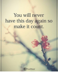 Memes, Never, and 🤖: You will never  have this day again so  make it count. You will never have this day again so make it count. powerofpositivity
