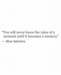 "Blue, Never, and Blue Valentine: ""You will never know the value of a  moment until it becomes a memory""  Blue Valentine"