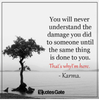 Karma Quotes: You will never  understand the  damage you did  to someone until  is done to you.  That's whylm here  Karma  Quotes Gate