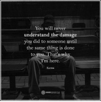 Memes, Karma, and Never: You will never  understand the damage  you did to someone until  the same thing is done  to you. That's why  m here.  Karma  O HIGHER  PERSPECTIVE That's why I'm here...