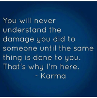 Memes, Karma, and Never: You will never  understand the  damage you did to  someone until the same  thing is done to you  That's why I'm here  Karma IG
