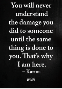 Memes, Karma, and Never: You will never  understand  the damage you  did to someone  until the same  thing is done to  vou. That's why  I am here  Karma  Lessons Taught  ByLIFE <3