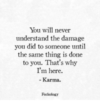 Karma, Never, and Why: You will never  understand the damage  you did to someone until  the same thing is done  to you. That's why  I'm here.  Karma  Fuckology