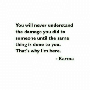 Karma, Never, and Why: You will never understand  the damage you did to  someone until the same  thing is done to you.  That's why I'm here.  Karma Noted.