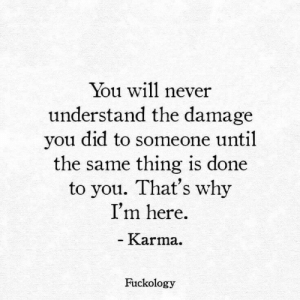 Never Understand: You will never  understand the damage  you did to someone until  the same thing is done  to you. That's why  I'm here  - Karma.  Fuckology
