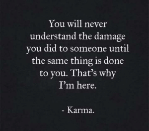 Never Understand: You will never  understand the damage  you did to someone until  the same thing is done  to you. That's why  I'm here.  Karma.