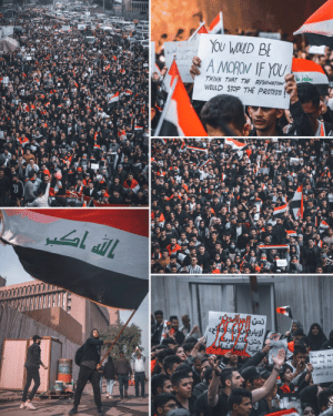 Students marching in Iraq: YOu WOLD BE  A MORON IF YOU  ७  THINK THAT THE RESIGNATION  WOULD STOP THE PROTESTS  CALVIN  UENTUS  GAFT  CASVIN  IAnr  7-4K  حتن طلك  rsthng  Slood and once  Ahe dase Students marching in Iraq