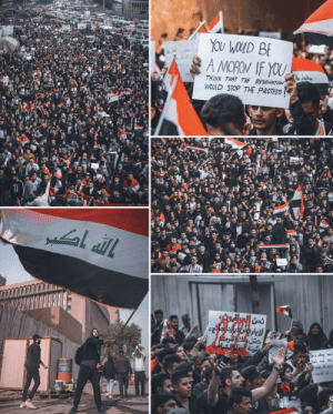 Young Iraqi Students Come Out I'm Black to Mourn the Dead, Knowing Their Battle is Just Beginning: YOU WOLD BE  A MOROW IF YOU  THINK THAT THE RESIGNATION  WOULD STOP THE PROTESTS  حتن ولك المرت  ed and on  n, the dase Young Iraqi Students Come Out I'm Black to Mourn the Dead, Knowing Their Battle is Just Beginning