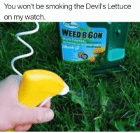 Devils Lettuce: You won't be smoking the Devil's Lettuce  on my watch  WEED B GON  WND CONTROL