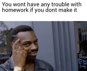 Homework, Dank Memes, and Thought: You wont have any trouble with  homework if you dont make it  Peni  Mon Ever thought about that?