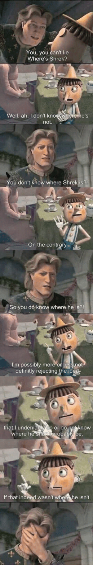 Shrek, Indeed, and Idea: You, you can't lie  Where's Shrek?  Well, ah, I don't know where he's  not.  You don't know where Shrek is?!  On the contrary  So you do know where he is?!  I'm possibly  definitly rejecting the idea  more or lessnot  that I undeniably do or do not know  where he shanit probably be.  If that indeed wasn't where he isn't.