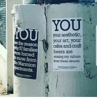 College, Love, and Memes: YOU  your aesthetic,  your art, your  cafes and craft-  beers are  erasing my culture  from these streets. f  the reason  57 families  ere forced  torced  omove from  Marmion  artments,.  Gentrification is Molknce  t Violenee Repost @wheresgordys16: One of the few things I remember from high school was Mr. conde telling me about gentrification. He told me he sees alot of people talk how they have so much pride for the neighborhood but after they graduate college the first thing they do is leave lhts. Instead of buying a home here they buy houses somewhere else thus leaving homes for grabs for rich people to develop new projects and jack up the prices on our parents. Forcing us to leave. I Say fuck that shit fuck the local coffee shops fuck the art gallerys fuck these new apartments they are building. I rather have the cholos back in the hood tagging on the walls have the killings and pay less than 900 for a 1 bed room here in LHTS. It sucks seeing these changes happening to the neighborhood that I grew up and love. Shit 5 yrs ago you wouldn't see people walking down alameda at 7pm now you see people dress like they are going to a wedding walking down there. Take all that shit to the valley or hollywood. Now I read that they wanna kick out the people that live in the apartments next to bi-rite FuckGentrification RespectTheCulture OrBounceTheFuckOff LincolnHeights LHTS HighLandPark ElSereno CypressPark LosAngeles