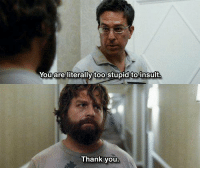 The Hangover: Youare literally too Stupid to insult  Thank you The Hangover