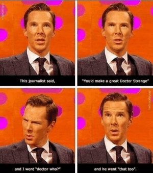 "He really would. by Malaert6 MORE MEMES: You'd make a great Doctor Strange  This journalist said,  and I went ""doctor who?  and he went ""that too*. He really would. by Malaert6 MORE MEMES"