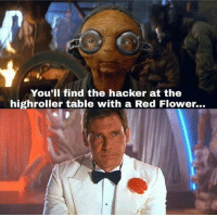 Memes, Flower, and 🤖: You'lI find the hacker at the  highroller table with a Red Flower...