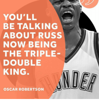 The Big O is ready to hand over the crown. 👑: YOU'LL  BE TALKING  ABOUT RUSS  NOW BEING  THE TRIPLE  DOUBLE  KING  OSCAR ROBERTSON The Big O is ready to hand over the crown. 👑
