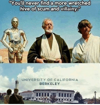 "America, Memes, and Savage: ""You'll never find a more wretched  hive of scumand villainy  You'll neverifind a more&wretched  hive of scum and villainy  UNIVERSITY OF CALIFORNIA  BERKELEY 😂😂😂 liberal maga conservative constitution like follow presidenttrump resist stupidliberals merica america stupiddemocrats donaldtrump trump2016 patriot trump yeeyee presidentdonaldtrump draintheswamp makeamericagreatagain trumptrain triggered Partners --------------------- @too_savage_for_democrats🐍 @raised_right_🐘 @conservativemovement🎯 @millennial_republicans🇺🇸 @conservative.nation1776😎 @floridaconservatives🌴"