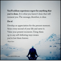 Life, Memes, and Regret: You'll seldom experience regret for anything that  you've done. It is what you haven't done that will  torment you. The message, therefore, is clear.  Do it!  Develop an appreciation for the present moment.  eize every second of your life and savor it.  Value your present moments. Using them  up in any self-defeating ways means  you've lost them forever.  Wayne Dyer  www.PRINCEEA.coM princeea inspire encourage life motivate lifejourney followwisdom dailymotivation