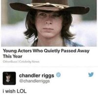 Lol, Mood, and News: Young Actors Who Quietly Passed Away  This Year  OtherBuz  z | Celebrity News  chandler riggs  @chandlerriggs  i wish LOL MOOD