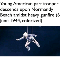"""Lady Gaga, Memes, and American: Young American paratrooper  descends upon Normandy  Beach amidst heavy gunfire (6  June 1944, colorized) <p>Lady Gaga memes are still slightly on the rise. Hold now then prepare to sell via /r/MemeEconomy <a href=""""http://ift.tt/2jVKpo1"""">http://ift.tt/2jVKpo1</a></p>"""